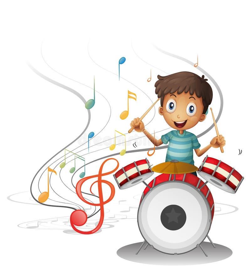 Um sorriso novo do baterista ilustração royalty free