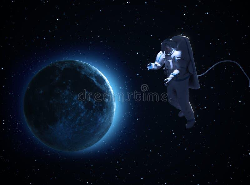 Um spacewalk do astronauta ilustração do vetor