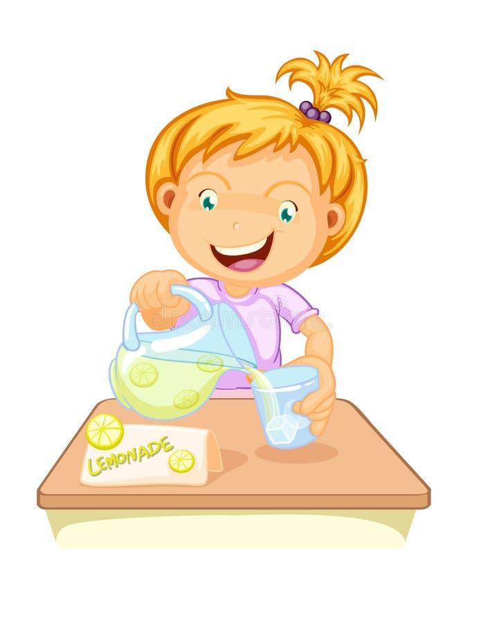 Um suco bebendo da menina ilustração royalty free