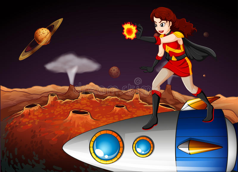 Um super-herói fêmea na galáxia que está acima da nave espacial ilustração stock