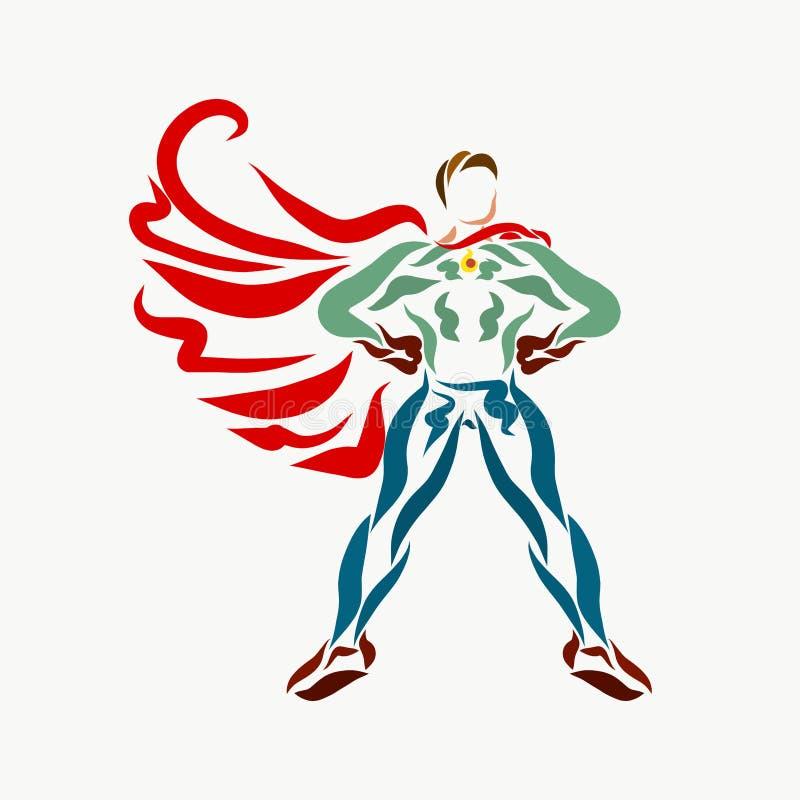 Um super-herói forte com um casaco tornando-se, criativo ilustração stock