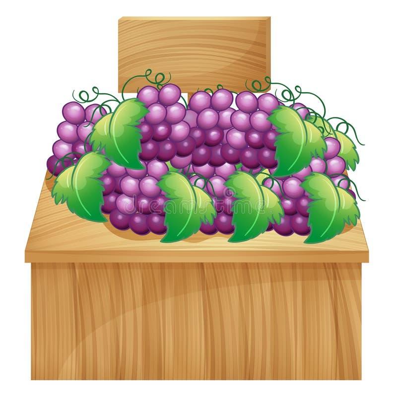 Um suporte de fruto para uvas com um signage vazio ilustração stock
