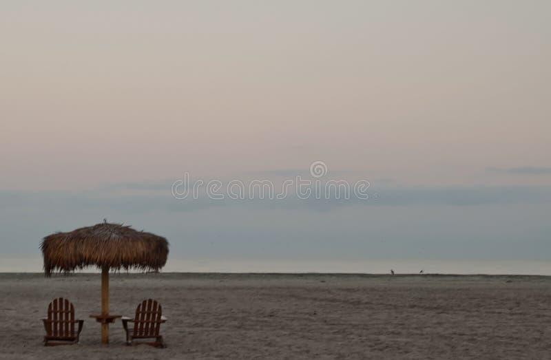 Um suporte de guarda-chuva da palma acima das cadeiras de madeira do adirondack em uma praia do Oceano Pacífico foto de stock royalty free