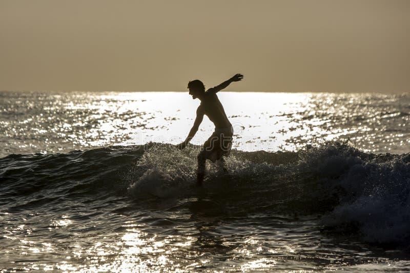 Um surfista monta uma onda na ruptura do ponto na baía de Arugam em Sri Lanka no nascer do sol foto de stock royalty free