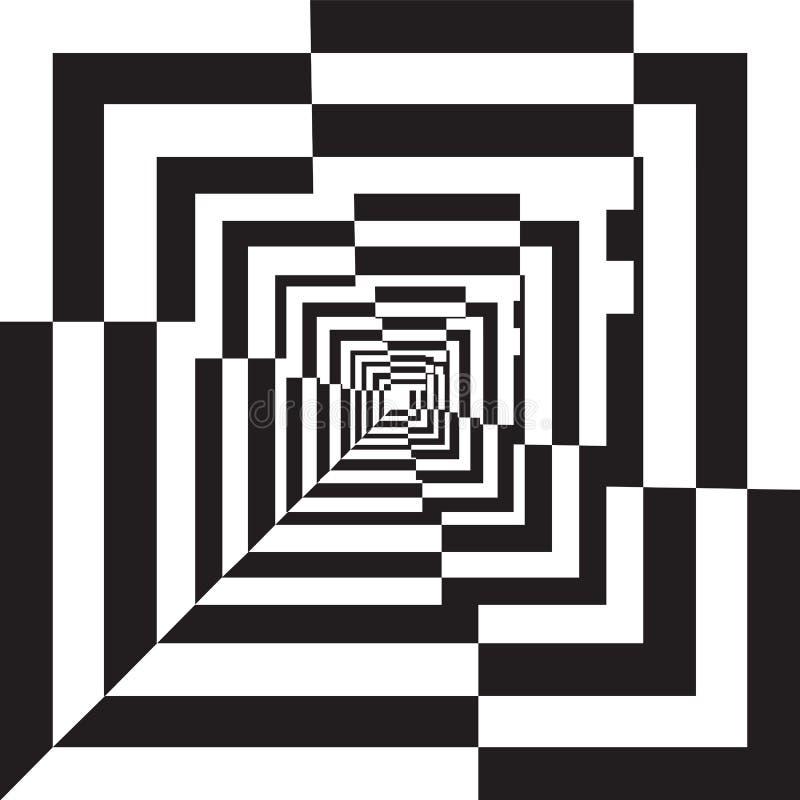 Um túnel preto e branco do relevo. ilustração do vetor