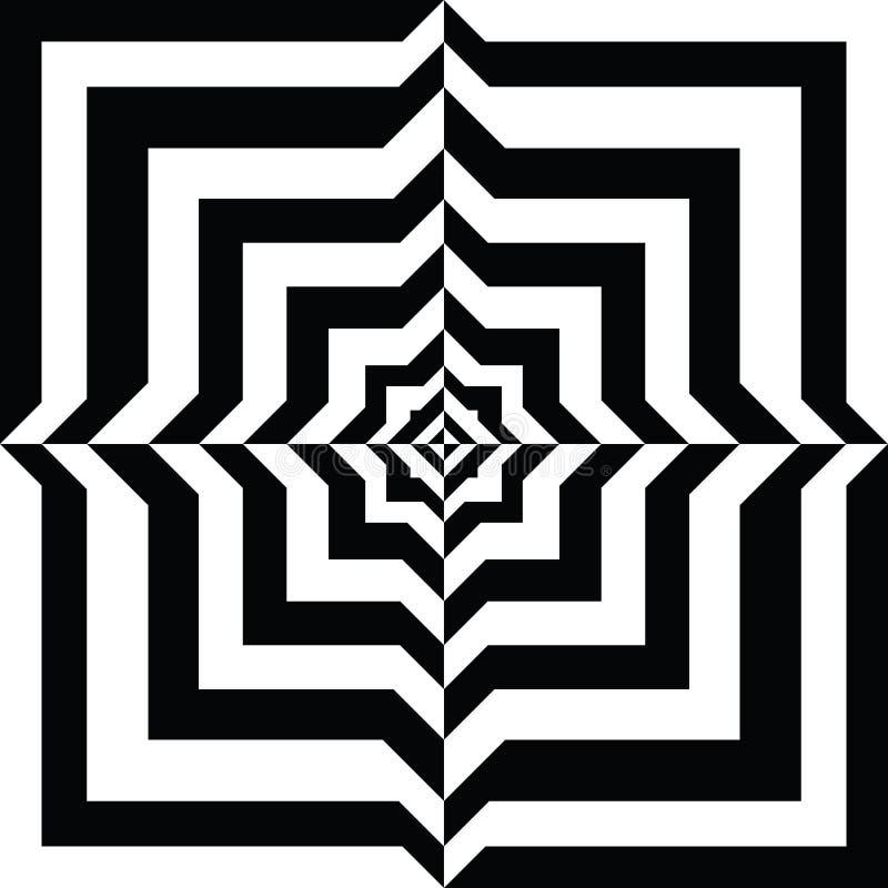 Um túnel preto e branco do relevo Ilusão ótica ilustração stock
