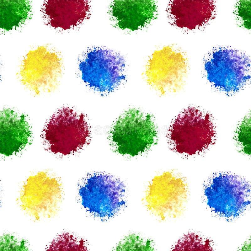 Um tamanco sem emenda da mancha verde vermelha amarela azul da aquarela espirra isolado no fundo branco para a matéria têxtil, pa ilustração stock