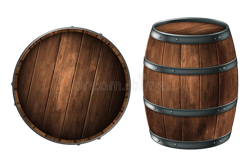 Um tambor de madeira para armazenar bebidas alcoólicas e uma tampa do tambor vetor 3d Ilustra??o real?stica altamente detalhada ilustração royalty free