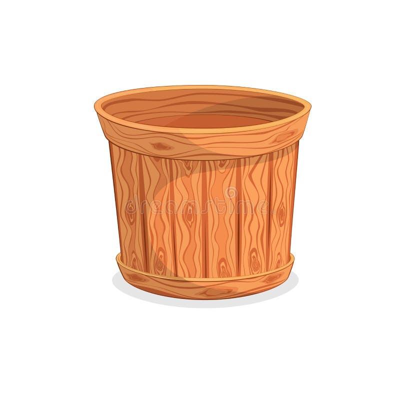 Um tambor de madeira vazio no fundo branco ilustração royalty free
