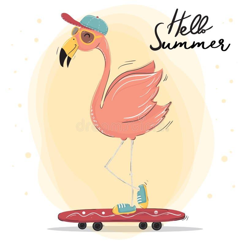 um tampão cor-de-rosa bonito do desgaste do flamingo e vidros de sol que skateboarding, vetor do caráter das horas de verão ilustração stock