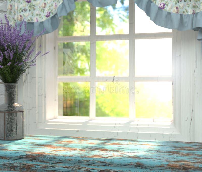 Um tampo da mesa de madeira com uma cor azul e vaso da alfazema na frente do fundo borrado de uma janela com um jardim verde atrá ilustração do vetor