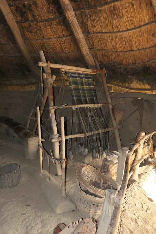 Um tear reconstruído da idade do ferro em uma casa redonda situada no forte do monte da idade do ferro de Castell Henllys imagem de stock royalty free