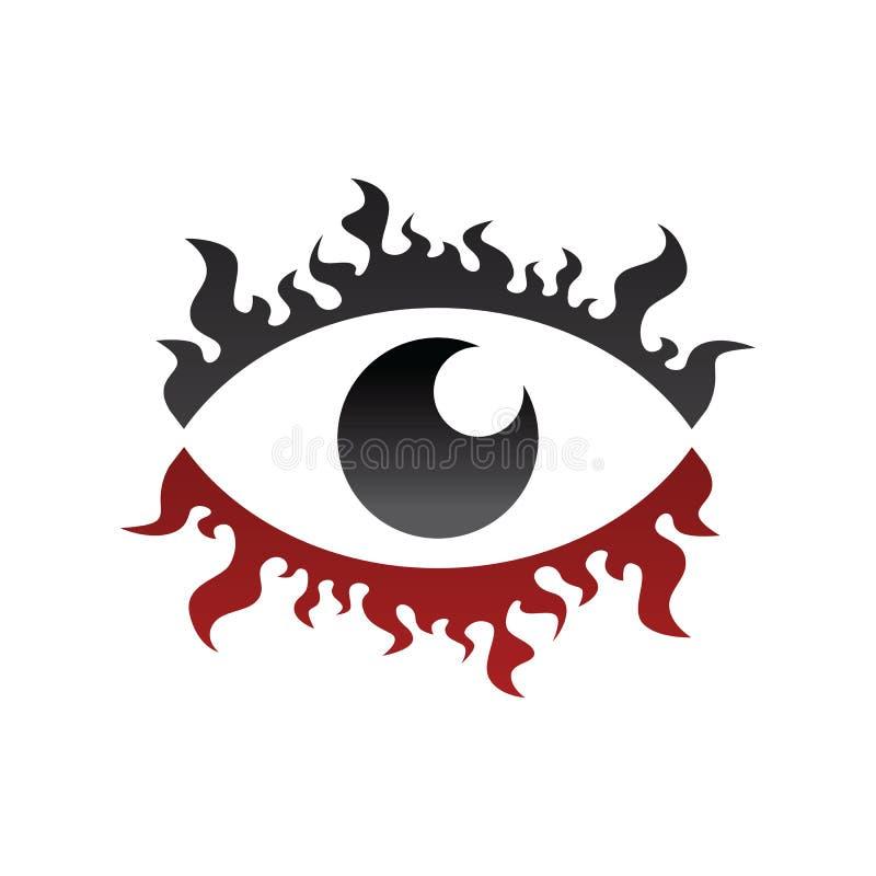 um tema da queimadura do fogo de relógio do olhar do olho ilustração do vetor