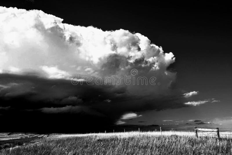 Um temporal é vir preto e branco imagens de stock
