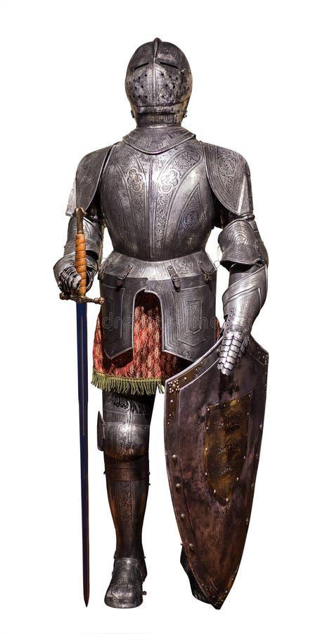 Um terno completo europeu da armadura do vintage isolado foto de stock