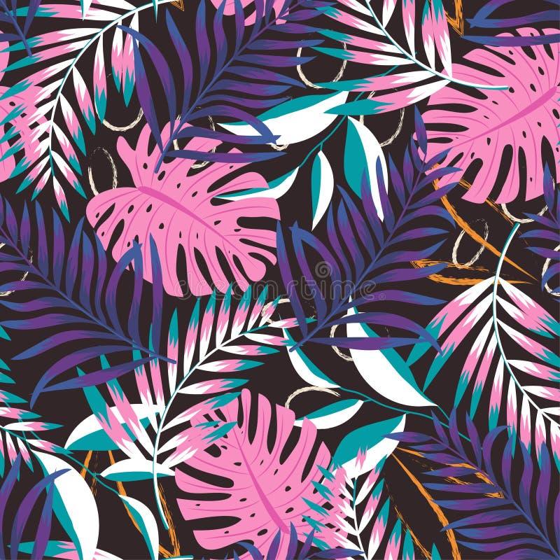 Um teste padrão abstrato de tensão com folhas e as flores tropicais em um fundo pastel delicado Projeto do vetor C?pia da selva f imagem de stock