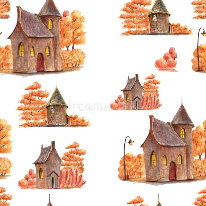 Um teste padrão bonito do outono com elementos tirados mão ilustração do vetor