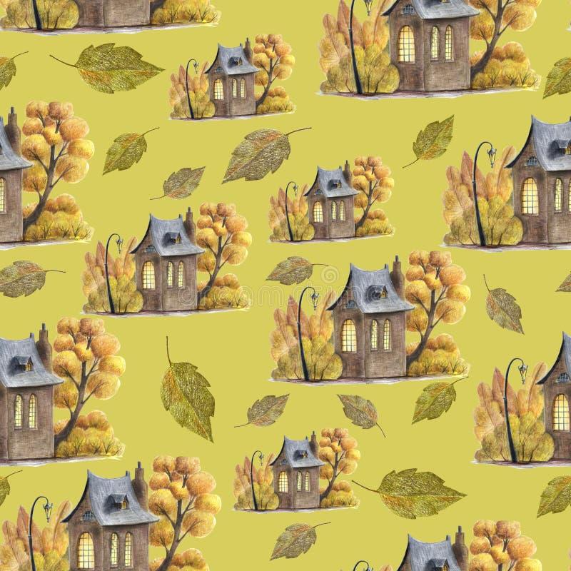 Um teste padrão bonito do outono com elementos tirados mão ilustração royalty free