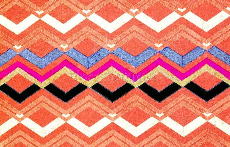 Um teste padrão de ziguezague coloriu dentro com uma pena do gel ilustração royalty free