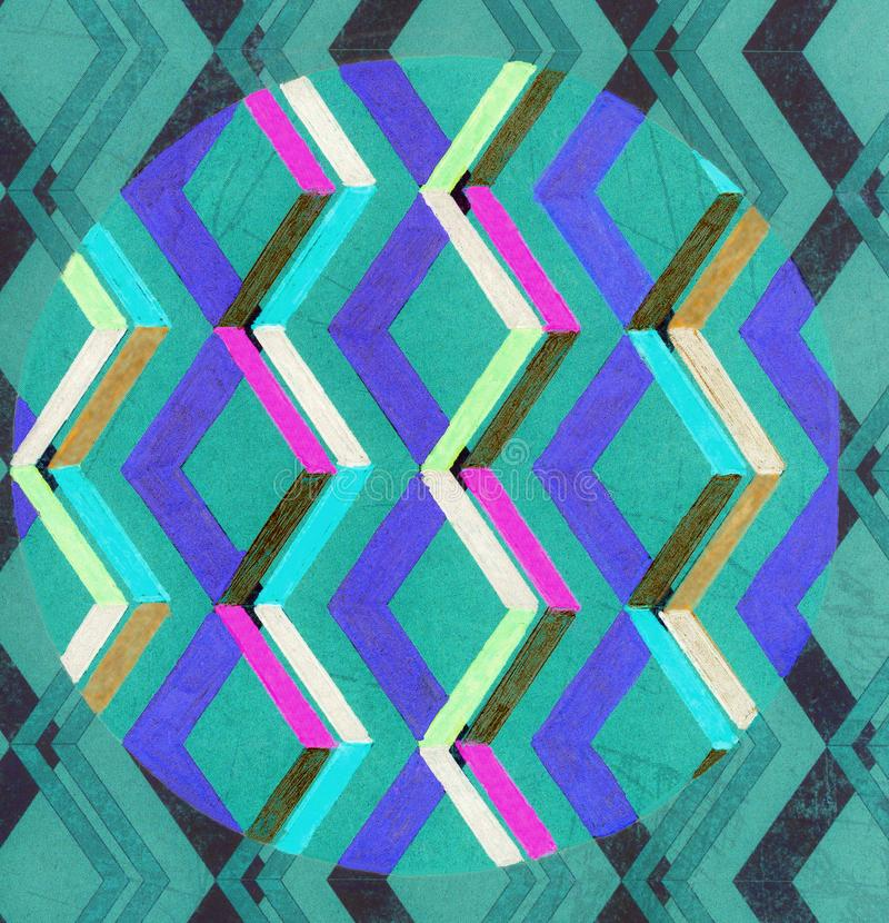 Um teste padrão de ziguezague coloriu dentro com uma pena do gel ilustração do vetor