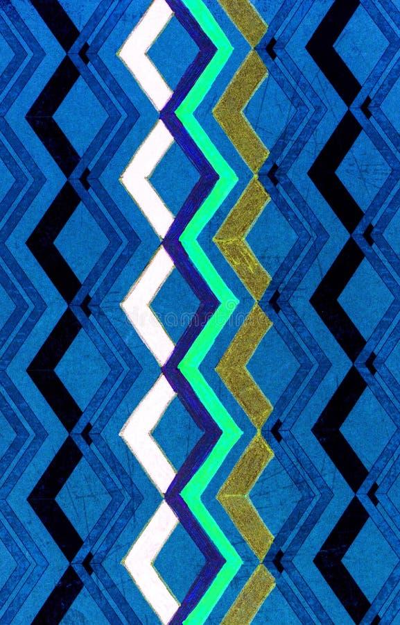 Um teste padrão de ziguezague coloriu dentro com uma pena do gel ilustração stock