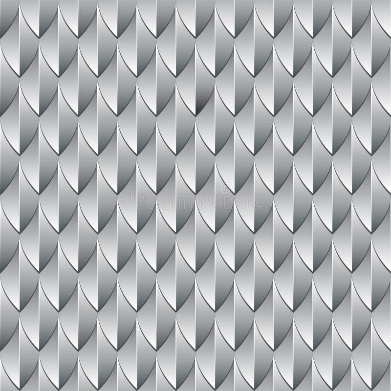 Um teste padrão escamoso prateado geométrico que assemelha-se a escalas do ` um s do dragão ilustração stock