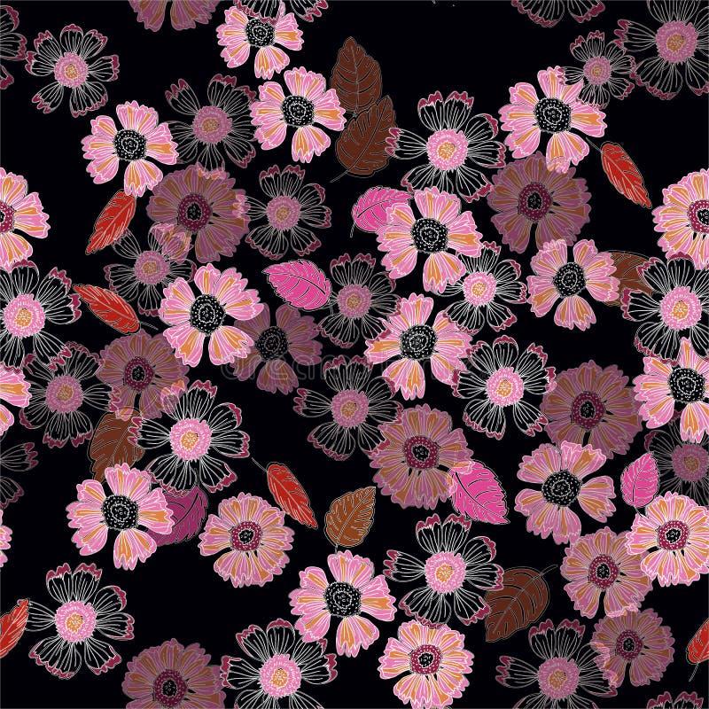 Um teste padrão floral temperamental da cópia da repetição no rosa em um fundo preto ilustração royalty free