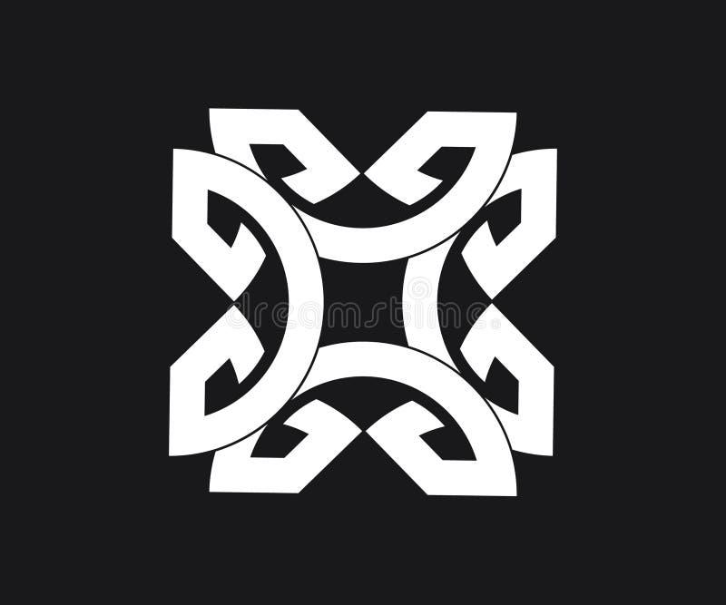 Um teste padrão geométrico tribal no fundo preto ilustração stock