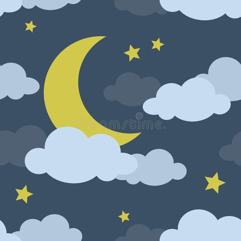Teste padrão sem emenda da lua da noite ilustração stock