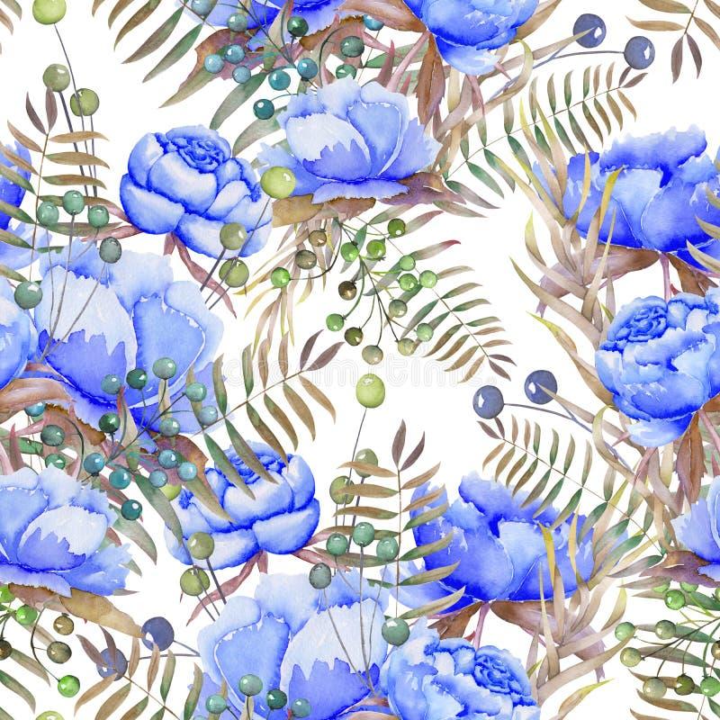 Um teste padrão sem emenda com as peônias, as bagas, as folhas e os ramos azuis da aquarela ilustração do vetor