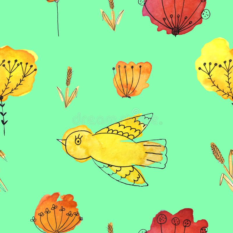 Um teste padrão sem emenda com pássaros e flores em um fundo verde imagens de stock