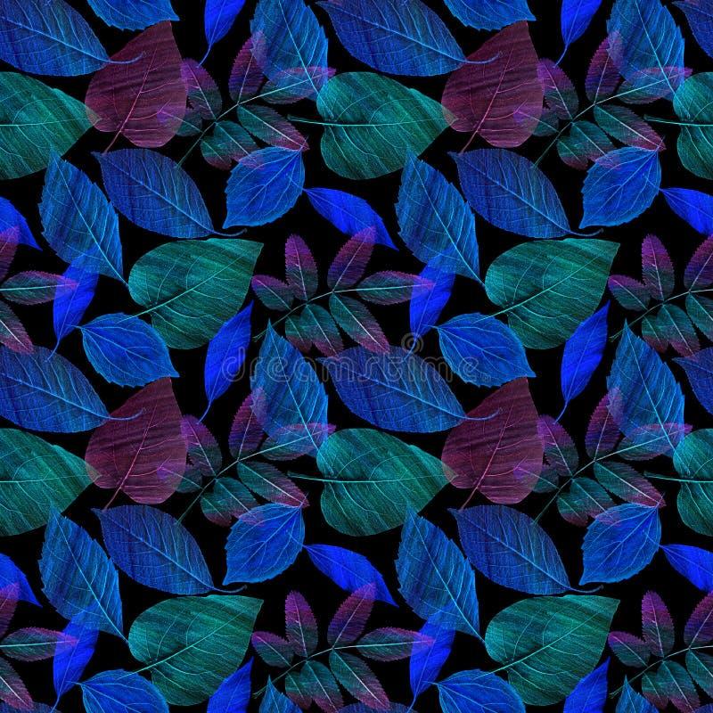 Um teste padrão sem emenda com verde e o azul sae no fundo preto fotografia de stock