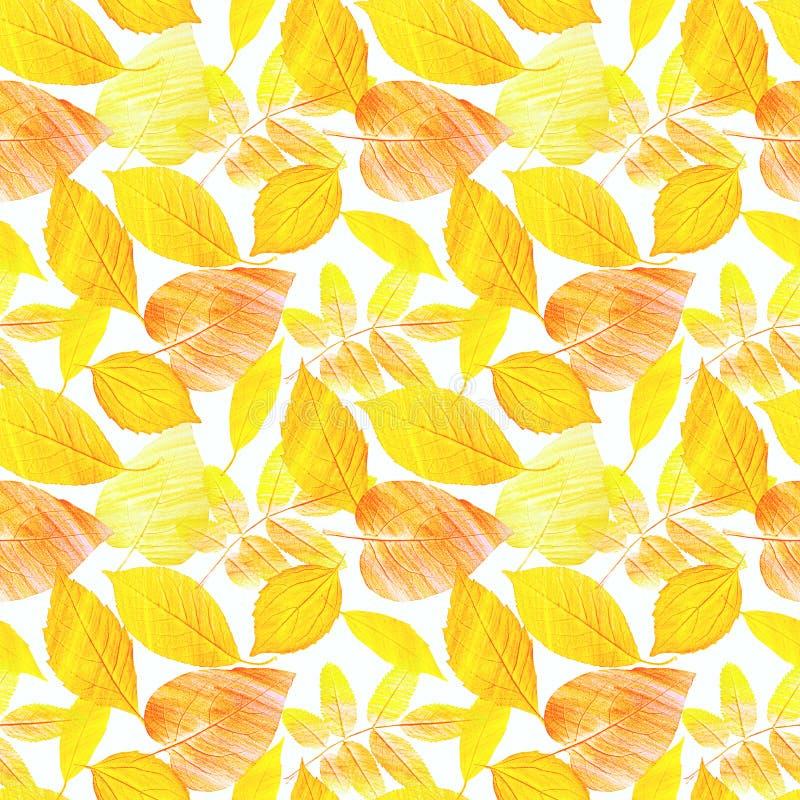 Um teste padrão sem emenda do fundo com as folhas douradas do amarelo, tonificadas foto de stock