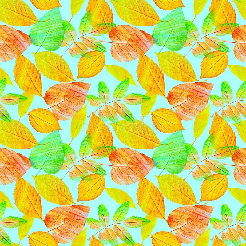 Um teste padrão sem emenda do fundo com as folhas verdes e douradas da laranja, tonificadas imagem de stock