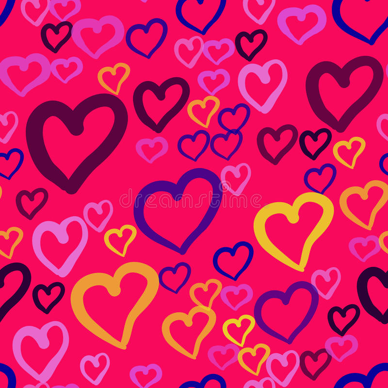 Um teste padrão sem emenda do vetor com repetição de corações da cor diferente no fundo cor-de-rosa Esta textura romântica seria ilustração stock