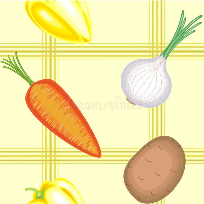 Um teste padr?o extravagante Vegetais bonitos maduros em um fundo claro Apropriado como o papel de parede na cozinha, como um fun ilustração do vetor