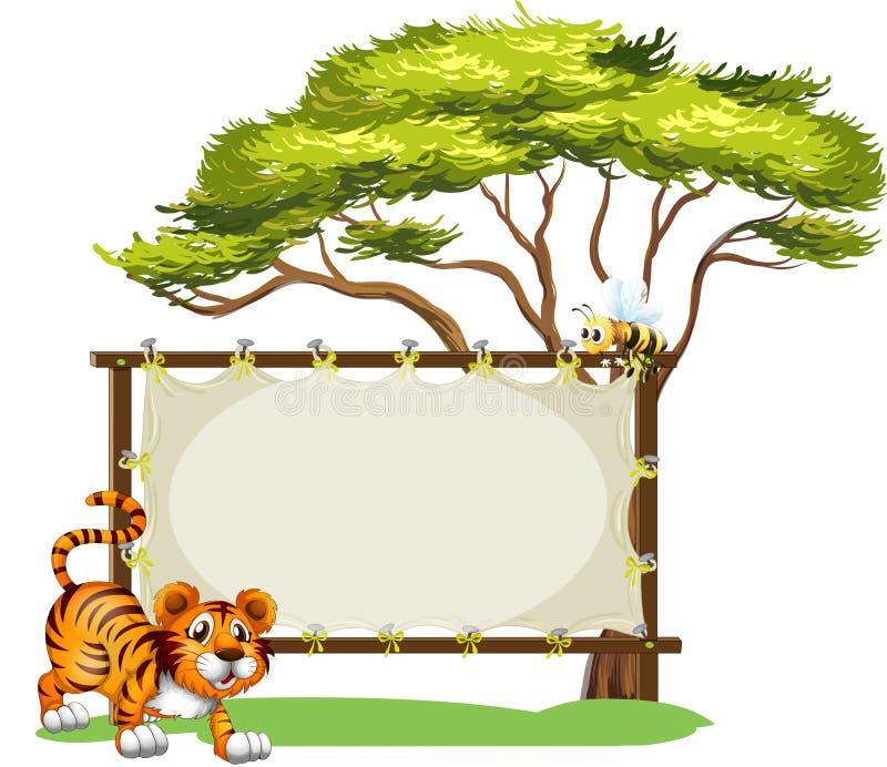 Um tigre ao lado do signage vazio ilustração royalty free