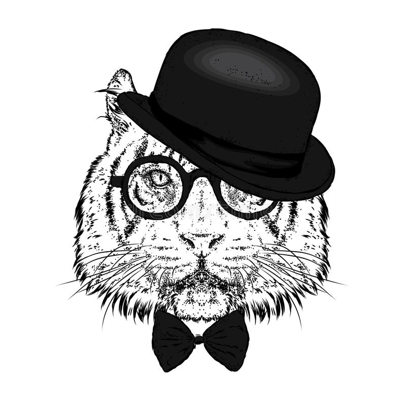 Um tigre bonito com um chapéu e vidros Ilustração do vetor Animal selvagem, predador ilustração do vetor
