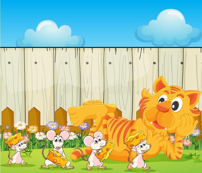 Um tigre e um grupo de ratos no quintal ilustração stock