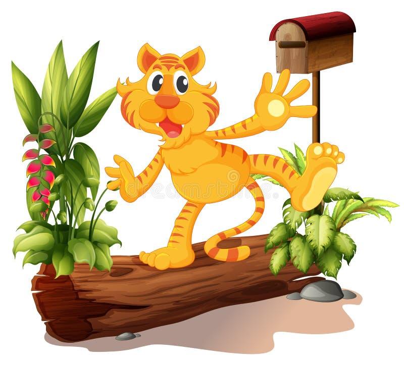Um tigre novo no jardim com uma caixa postal ilustração stock