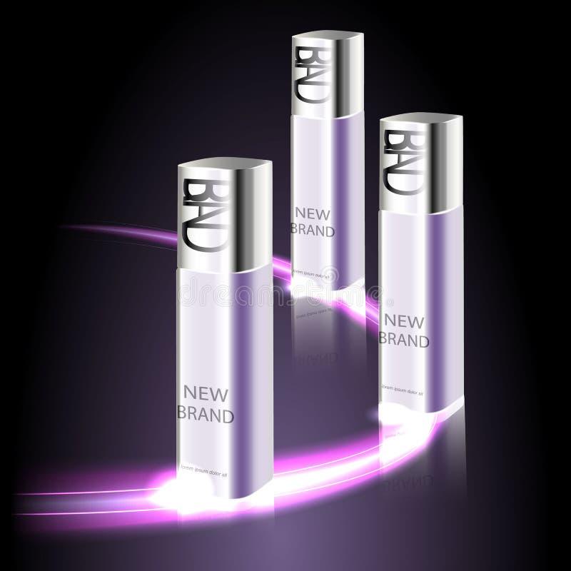 Um tipo novo da série dos cosméticos de anúncios para o sol superior dos cuidados com a pele do creme de corpo brilha Molde para  ilustração stock