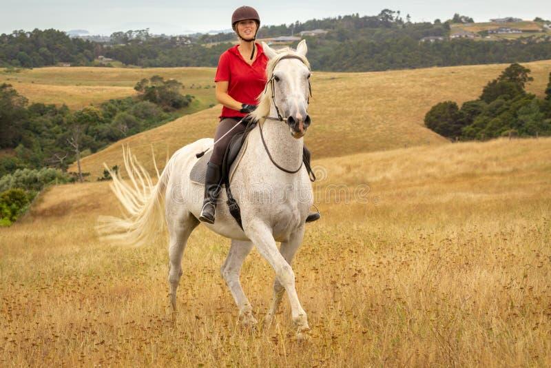 Um tiro distante de uma jovem mulher de sorriso feliz bonita vestida em um polo vermelho que monta seu cavalo branco com longo se imagens de stock royalty free