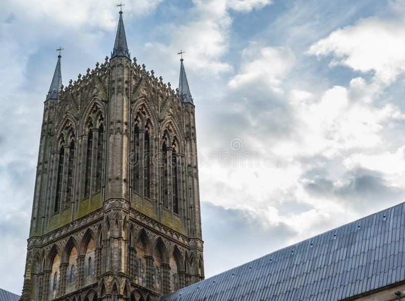 Um tiro do pináculo de Lincoln Cathedral, Lincolnshire fotos de stock