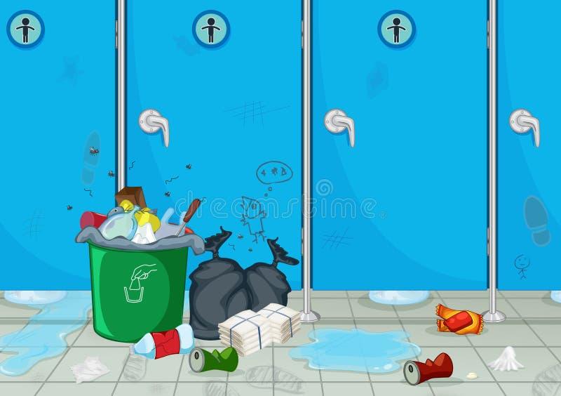 Um toalete público masculino sujo ilustração do vetor