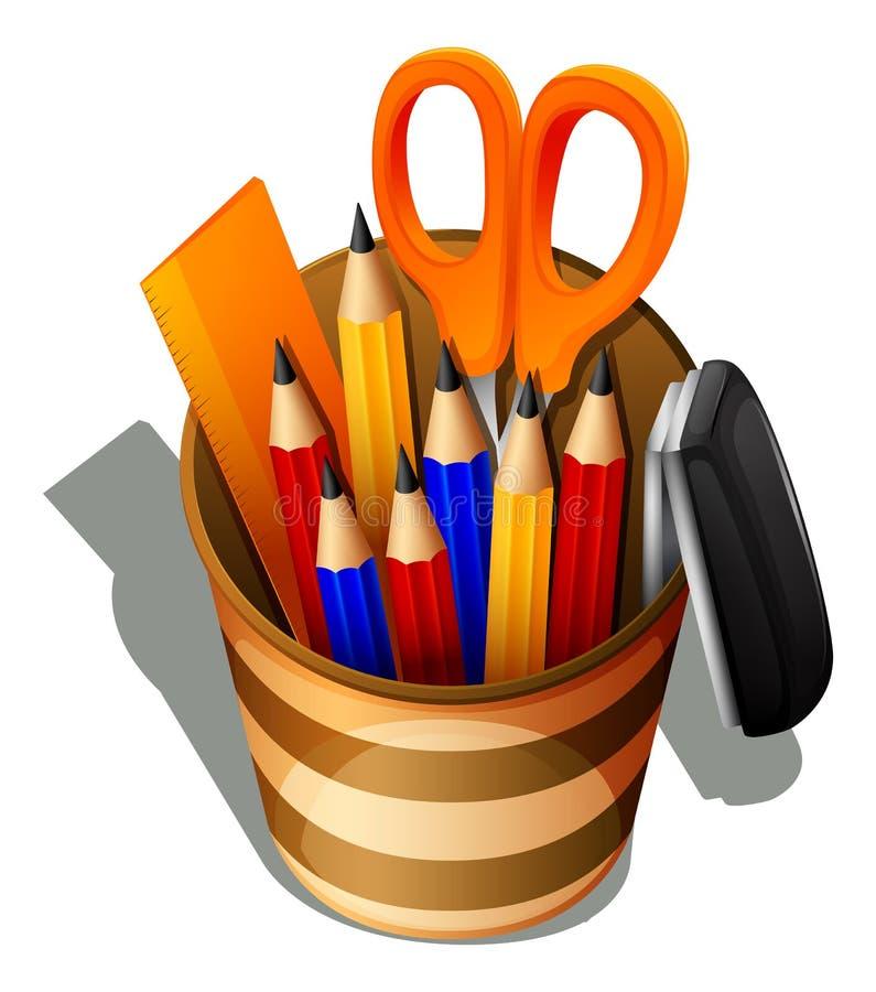 Um topview das fontes de escola em um recipiente ilustração stock