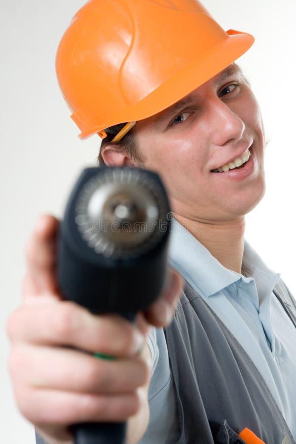 Um trabalhador da construção imagens de stock