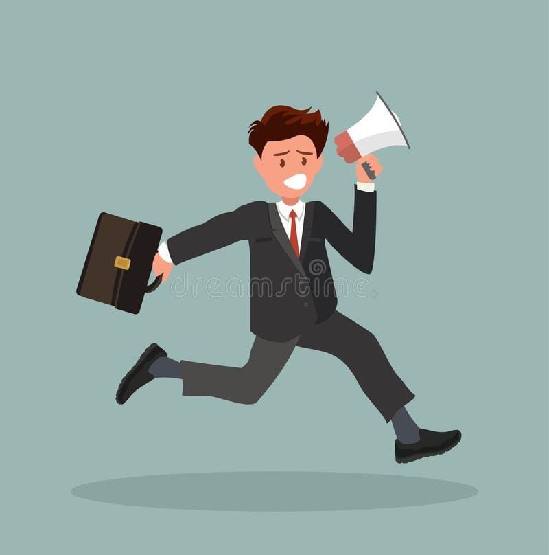 Um trabalhador de escritório corre e guarda um megafone ilustração royalty free