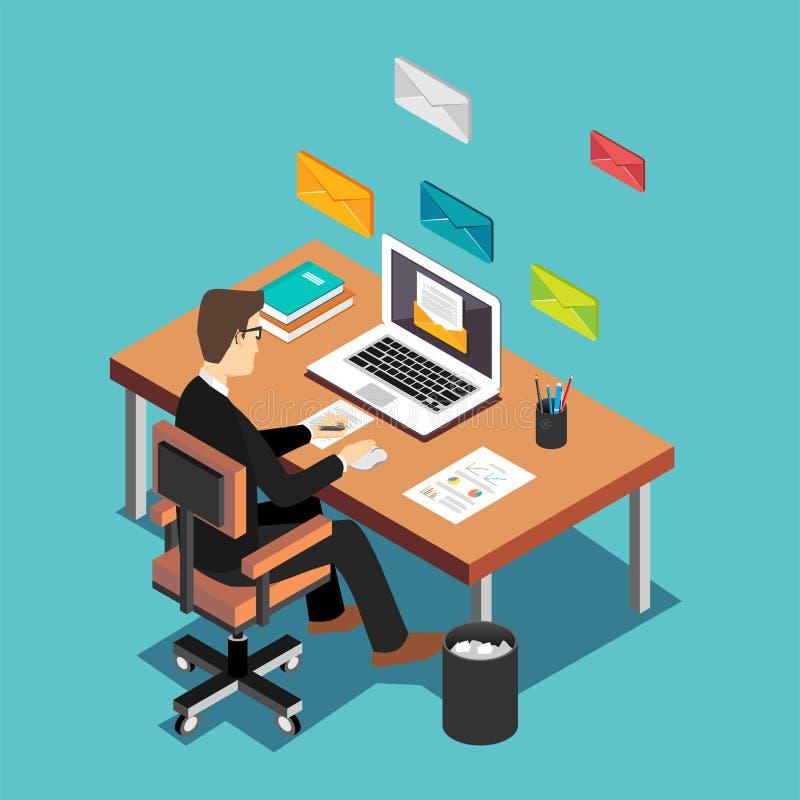 Um trabalhador de escritório que envia email e comunicação com os clientes Conceito do mercado do email Concep isométrico liso da ilustração royalty free
