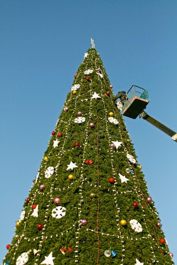 Um trabalhador decora uma árvore de Natal em Volgograd fotografia de stock