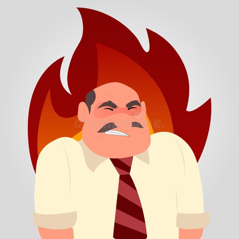 Um trabalhador irritado com uma chama no seu para trás ilustração royalty free